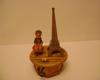 Vintage Anri Music Box Thorens Movement / Wooden/ Mademoiselle de Paris /Girl with Eifel tower /Swiss made /collectible /plays great / mint