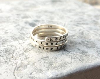 Wild Woman  Hand stamped Silver Quote Ring 'Dance like the Maiden, Love like the Mother, Think like the Crone' Triple Goddess Ring.