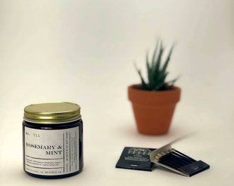 No. 011 Rosemary & Mint Essential Oil 3.0 ounce Candle; Natural Candle; Lard Candle; Organic Beeswax Candle; Essential Oil Candle