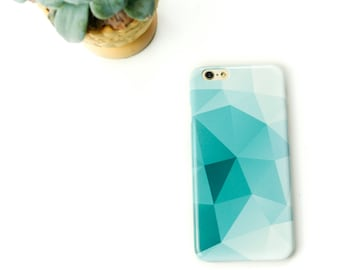 Teal iPhone 6S Case Geometric iPhone SE Case, Turquoise iPhone 8 Case, Abstract iPhone 8 Plus Triangles iPhone 7 Plus Case
