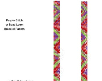 Bracelet Pattern for Loom and Peyote Stitch - Thin4 - Super Thin Bracelet Pattern - Delica Bead Bracelet Pattern