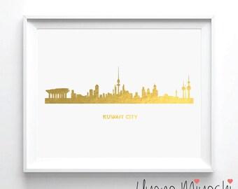 Kuwait City Skyline Gold Foil Print, Gold Print, City Skyline Print in Gold, Art Print, Kuwait City Skyline Gold Foil Art Print