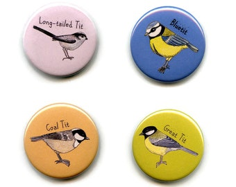 Tits Garden Birds Magnets, Pack of Four 38mm Round Button Fridge Magnets Bluetit, Greattit, Coaltit and Long-tailed Tit