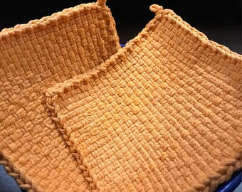 Handmade Large Woven Potholder Duo Set in Tiger Lily