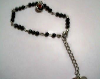 Semi precious black, grey bracelet