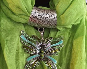 Soft Jeweled Scarf  bright green  with green and teal metal butterfly pendant