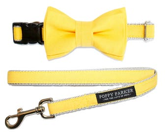 Layered Dog Bow Tie - Bright Sunflower Yellow - Optional Matching Collar and Leash