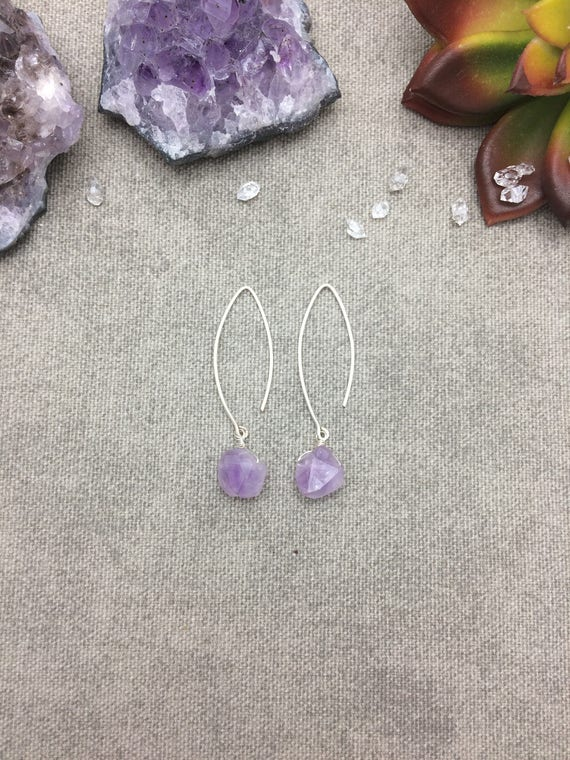 Lavender Amethyst Marquis Hoop Earrings
