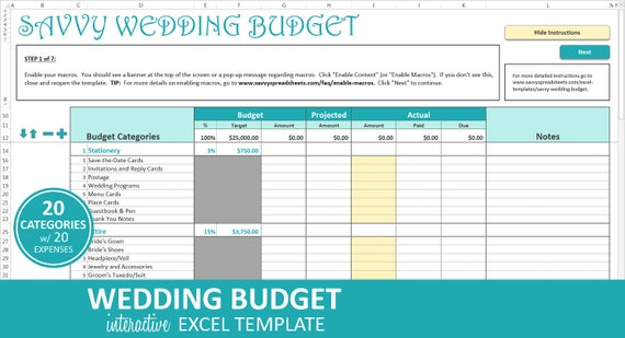 Savvy Wedding Budget Turquoise Wedding Budget Planner