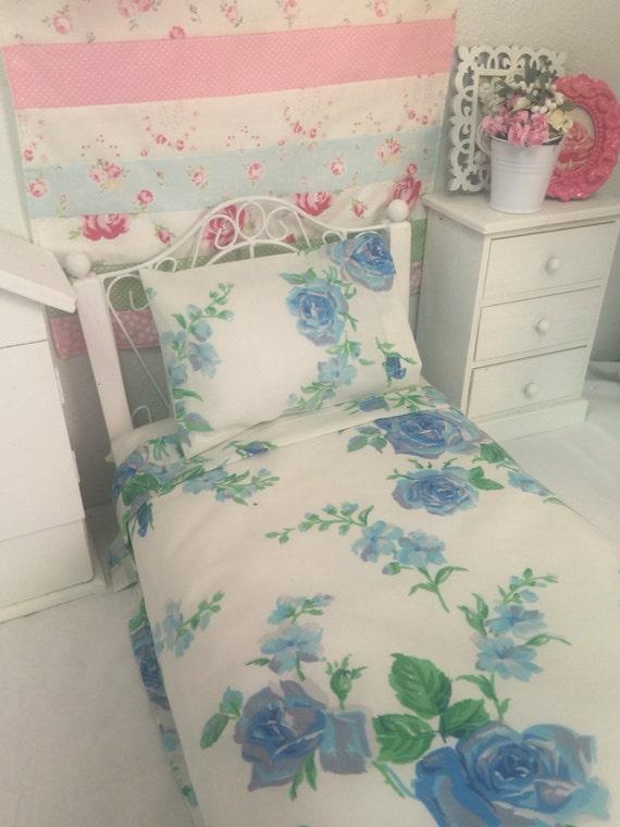 18 inch Girl Doll sized Vintage Blue Roses Sheet set