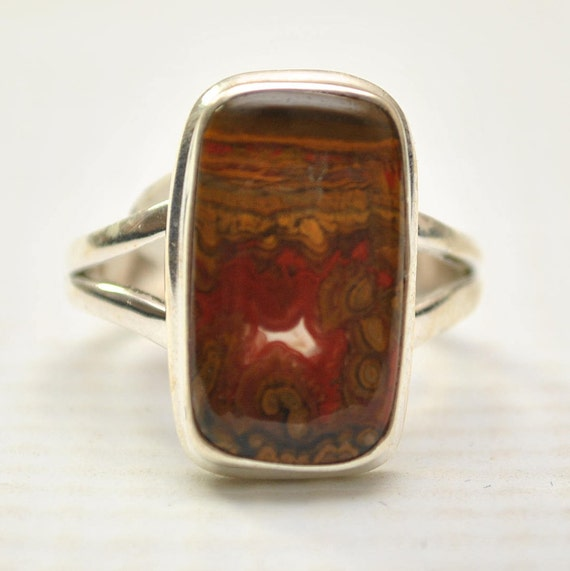 Sterling Silver Candy Mountain Agate Ring Sz 8.5 #9260