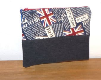 canvas London red and blue and denim pouch