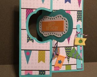 Happy Birthday Banner Flip It Card