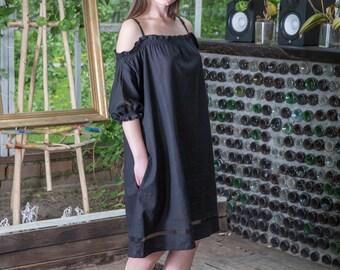 Off Shoulder Linen Swing Sundress with Pockets