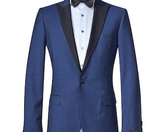 Men's custom suit - contrasting black lapels/ Full canvas/ Super 120s/Wedding Suit