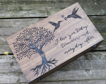Heirloom quality custom wedding gift - Personalized wine box, memory box, card box, fifth anniversary gift, wine crate, wine holder