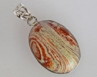 Natural Picture Jasper Gemstone Pendant, Oval Shape, 925 Solid Sterling Silver, Handmade Women Jewellery, Best Price, Gift For Wife FSJ-1765