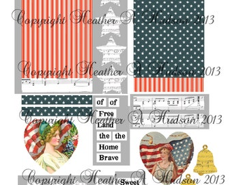 Vintage chic Victorian Land of the Free Americana 4th Of Julytags Digital Collage sheet
