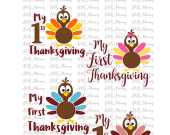 My First Thanksgiving SVG, Cut File, Cricut File, Silhouette SVG, Girl and Boy 1st Thanksgiving