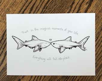 "Magical Moments - 7x10 ""One of a kind"" original Sharktopia sketch"
