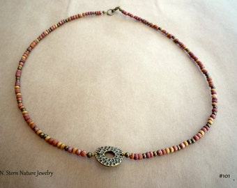 101# Brass & Wood beads necklace