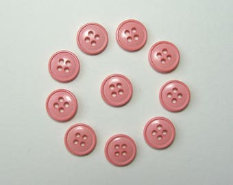 Set of 10 round buttons, 11.5 mm synthetic, pink, 4 holes.