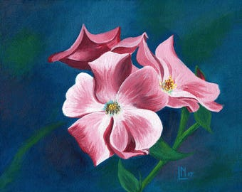 Pink Blossoms 8x10 Acrylic Painting