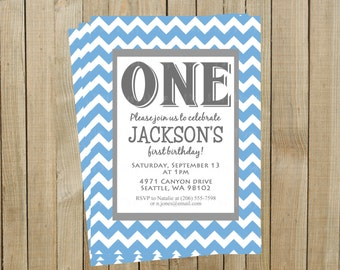 Trendy Blue Chevron First Birthday Invitation, Custom Digital File, Printable
