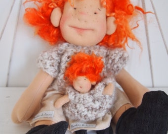Natural fiber art doll, waldorf doll, cloth doll, art doll, decorative art, fiber art, textile art, Rag doll