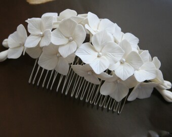 Hydrangea hair comb Bridal hair comb Hydrangea Bridal hair accessories Wedding hair accessories Flower Bridal headpiece Bridal hair flower