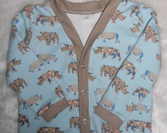 Boys/girls Cardigan - Jersey knit pale blue with Geo Rhino pattern Age 2-3 years Handmade