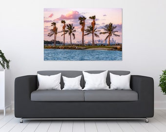 Miami Palm Tree Skyline Sunset Photo Print | Wall Art | Nature and Landscape Photography | (5x7, 8x10, 10x15, 12x18, 16x24, 20x30, 24x36)