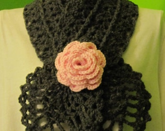 Charcoal grey scarf with a rose (baby pink)