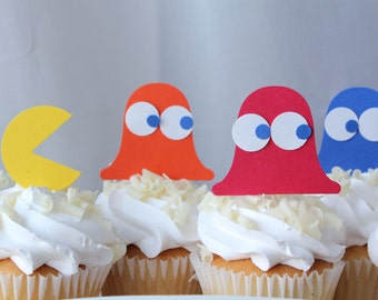 Pac Man Inspired Birthday Party Cupcake Toppers