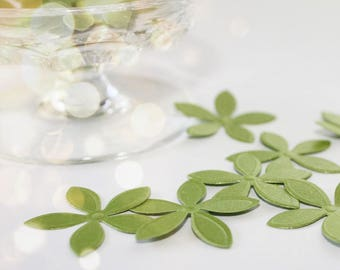 Sweet Green Flower Paper Confetti Party Embellishments - Set of 50
