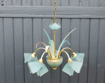 Murano style five lamp chandelier, vintage french mid century, pendant, ceiling light in turquoise glass and gold tone metal