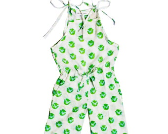 Cotton jumpsuit, Organic girl jumper, girl jumpsuit, Earth print jumpsuit, Globe print jumpsuit, Trendy girl clothes, Girl summer fashion