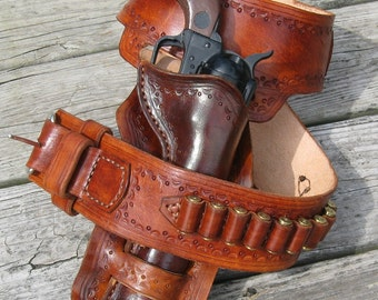 Western Gun Belt and Double Loop Holster