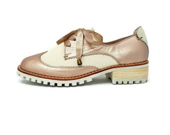 Angeline Leather Shoes- Oxford shoes -  Women Shoes -Flat Shoes -Oxfords for women -Rose Gold Leather Shoes -Lace up Shoes- Genuine Leather