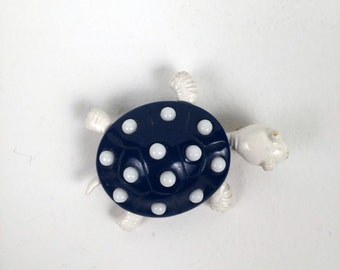 Vintage Blue and White Polka Dot Turtle Brooch