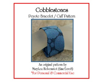 Peyote Pattern ... COBBLESTONES ... Bracelet Pattern . Bubbles . Beadweaving . PDF . Two Color . Stones . Simple . Tutorial . Instruction