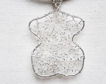 Cork bust pendant necklace