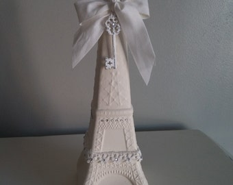 Hand Painted Cream Glass Eiffel Tower Bottle - Paris Decor, French Decoration, Shabby Chic, Paris Souvenir Replica, Glass, Gift