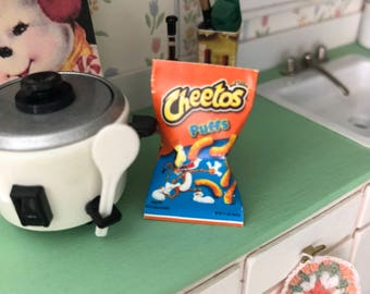 Miniature Snack Bag, Miniature Bag of Cheese Puffs, Dollhouse Miniature, Miniature Food, Dollhouse Accessory, Crafts, Decor, Mini Snack Food