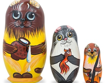 """4.25"""" Set of 3 Cats with Milk and Fish Wooden Nesting Dolls"""