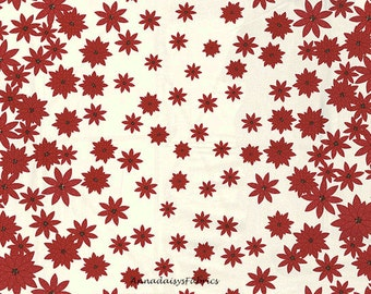 Double Border Poinsettia Quilt Fabric, Moda Winters Lane 13091 16 Kate and Birdie Paper Company, Red & Cream Christmas Fabric, Cotton