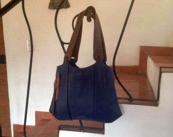 Navy Blue Leather Hobo Bag