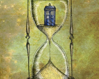 Doctor Who 8x10 print - Time Flies - Dr Who Tardis Hourglass inspired photo print art poster