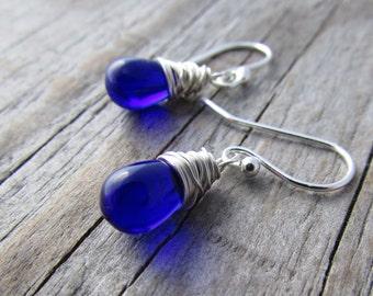 Blue Earrings, cobalt blue glass, drop earrings, silver wire wrapped, dangles