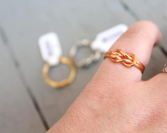 Vintage Infinity Knot Ring Kim Craftsmen New Old Stock // Choose Your Metal // Copper // Gold // Steel // Sailor Knot // N327
